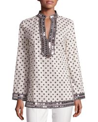 Tory Burch | Multicolor Tory Embellished Printed Tunic | Lyst