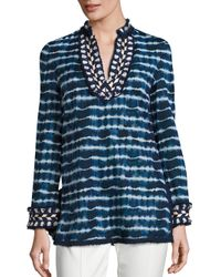 Tory Burch | Blue Tory Cotton Poplin Tie-dye Tunic | Lyst