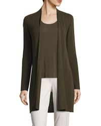 Eileen Fisher | Green Rib-knit Open-front Cardigan | Lyst