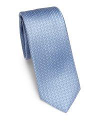 Saks Fifth Avenue   Blue Neat Silk Tie for Men   Lyst