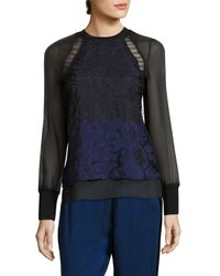 3.1 Phillip Lim | Blue Colorblock Silk & Lace Top | Lyst