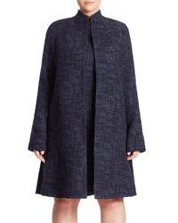 Eileen Fisher Blue Crosshatch Open-front Jacket