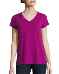 Eileen Fisher | Purple Slubby Organic Cotton Jersey V-neck Tee | Lyst