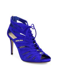 Jimmy Choo | Blue Keena Cutout Suede Lace-up Sandals | Lyst