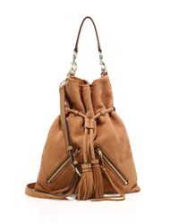 Rebecca Minkoff | Brown Large Nubuck Leather Moto Drawstring Bag | Lyst