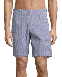 Orlebar Brown | Blue Dane Ii Gingham Cotton Shorts for Men | Lyst