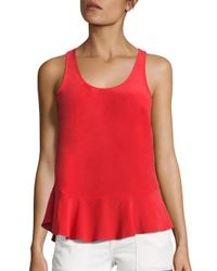 Joie | Red Cosma Silk Ruffled Tank Top | Lyst