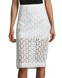 MILLY | White Floral Embroidered Midi Skirt | Lyst