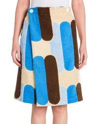 Miu Miu | Blue Printed Terry Cloth Skirt | Lyst