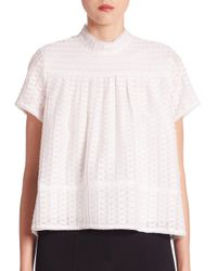 Proenza Schouler | White Short Sleeve Mockneck Top | Lyst