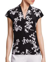 ESCADA | Black Silk Floral Top | Lyst