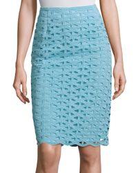 ESCADA   Blue Macrame Lace Skirt   Lyst
