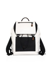 COACH | Black Manhattan Sport Calf Leather & Buffalo-embossed Leather Backpack | Lyst