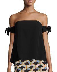 MILLY | Black Jade Off-the-shoulder Tie Sleeve Top | Lyst