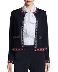 St. John | Blue Knit Open Front Jacket | Lyst
