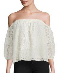 Ella Moss | Natural Off-the-shoulder Lace Blouse | Lyst