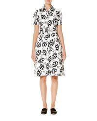Carolina Herrera | Black Umbrella-print Short-sleeve Shirtdress | Lyst