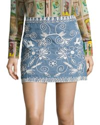 Alice + Olivia | Blue Riley Embroidered Chambray Mini Skirt | Lyst