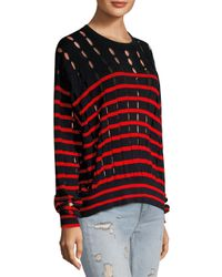 T By Alexander Wang Red T By Striped Cotton Pullover