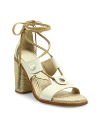 Rag & Bone | White Eden Leather Lace-up Block Heel Sandals | Lyst