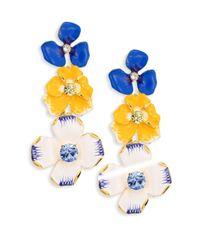 Kenneth Jay Lane | Multicolor Triple Flower Drop Earrings | Lyst