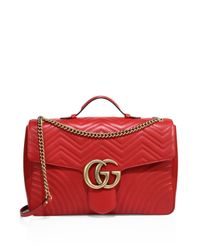 Gucci | Red Gg Marmont Matelasse Chevron Leather Chain Shoulder Bag | Lyst