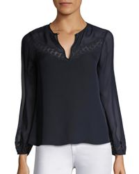 Rebecca Taylor | Blue Lace Trim Silk Georgette Top | Lyst