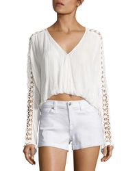 Free People | White Runaway Crochet-accented Top | Lyst