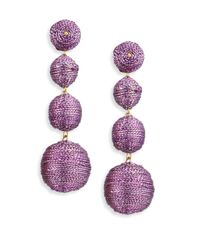 Kenneth Jay Lane | Three Thread Ball Drop Earrings/purple | Lyst