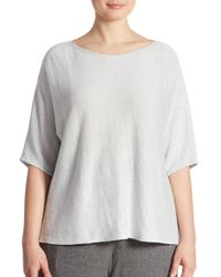 Eileen Fisher | Gray Organic Linen Boatneck Box Top | Lyst