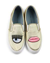 Chiara Ferragni - Flirting Lips Metallic Eco-leather Skate Sneakers - Lyst