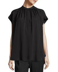 VINCE | Black Solid Silk Top | Lyst