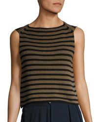 Vince | Black Striped Knit Tank Top | Lyst