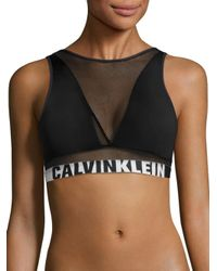 Calvin Klein | Black Logo Printed Band Bralette | Lyst