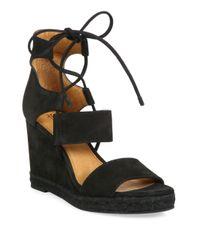 Frye | Black Roberta Ghillie Nubuck Leather Wedge Sandals | Lyst