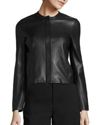 VINCE | Black Textured Leather Jacket | Lyst
