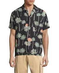 Wesc | Black Nevin Relaxed Woven Hawaii-print Shirt for Men | Lyst
