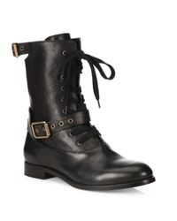 Chloé   Black Leather Combat Boots   Lyst