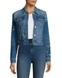 J Brand | Blue Harlow Paint Splatter Shrunken Jacket | Lyst
