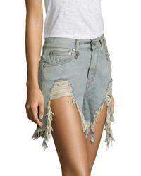 R13 - Blue Shredded High-waist Denim Shorts - Lyst