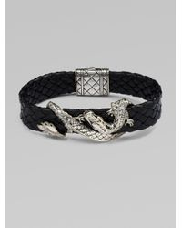 John Hardy | Black Silver Dragon & Leather Bracelet/brown for Men | Lyst