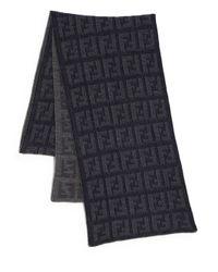 Fendi | Blue Logo Knit Wool Scarf for Men | Lyst