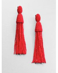 Oscar de la Renta | Red Long Beaded Tassel Clip-on Earrings | Lyst