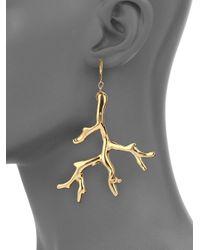 Kenneth Jay Lane - Metallic Branch Statement Drop Earrings - Lyst