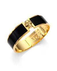Alexander McQueen | Black Enamel Skull Button Bangle Bracelet | Lyst
