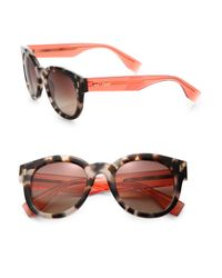 Fendi | Pink Colorblocked Round Sunglasses | Lyst