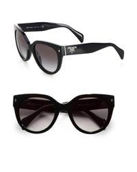 Prada | Black Round Cat's-eye Acetate Sunglasses | Lyst