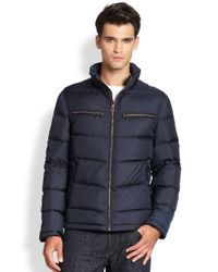 Cole Haan | Blue Packable Down Moto Jacket for Men | Lyst