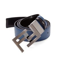 Fendi - Blue America Elite Reversible Leather Belt for Men - Lyst