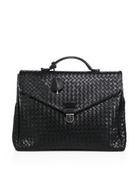 Bottega Veneta | Black Woven Leather Briefcase for Men | Lyst